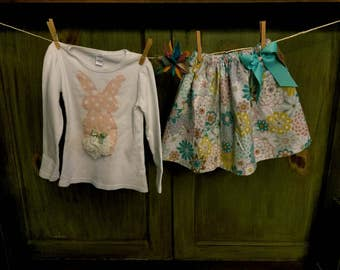 Hand Appliqued Bunny T Shirt and Skirt Set...