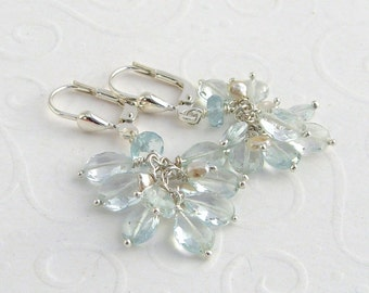 Light blue aquamarine earrings, 925 Silver, cluster, drop earrings, Keishi pearls