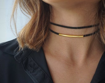 Double Suede Choker,Black Gold Choker Necklace,Dainty Choker Necklace,Gold Necklace Dainty, Dainty Gold Plated Choker Necklace, Black Choker