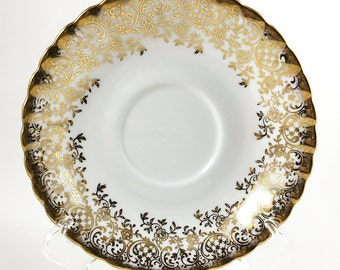 Royal Albert Tea Cup Saucer only. White with Gold Filigree Chintz, Pattern ROA264