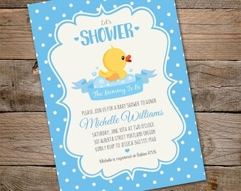 Duck Baby Shower Invitation, INSTANT DOWNLOAD baby shower Invitation, Rubber duck, Boy Baby Shower Invitation, Edit with Adobe Reader