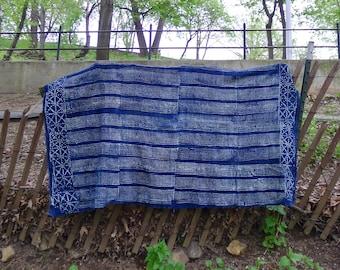 Vintage Denim Indigo Mudcloth Throw Beach Picnic Blanket Fabric Shawl Scarf Textile Bohemian Wall Decor Tapestry