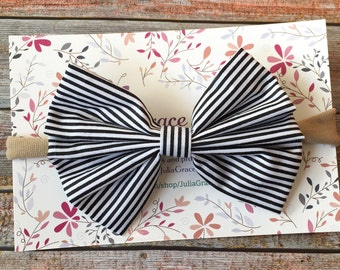 Black & White Headband/Black and White Baby Headband/Striped Headband/Nylon Baby Headband/Nylon Bow Headband/Baby Headband/Infant Headband