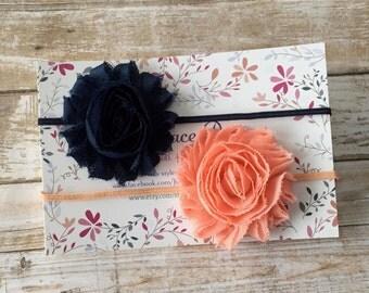 2 Shabby Chic Headbands/Baby Headband/Headband Set/Baby Headband Set/Newborn Headband/Infant Headband/Baby Shower Gift/Headband Gift Set