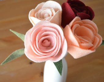 Felt Rose Single Stem (1) | Felt Flower | Felt Flowers for Bouquet | Build Your Own Bouquet
