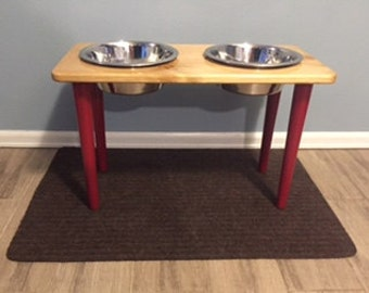 Mid-Century Modern Dog Bowl Stand