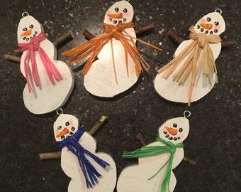 snowman ornaments, reclaimed wood, holiday decor, snowman, ornaments, rustic decor
