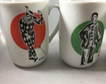 Set of 4 Vintage GHC Harlequin/Classy Clowns Mugs