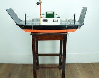 Vintage model boat - model of car ferry named 'James' - 1950s model boat - 1960s wooden model boat // gift for him // gift for dad