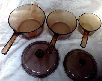Vision Cookware , 3 sauce pans made in the USA, Corning,smallest made in France