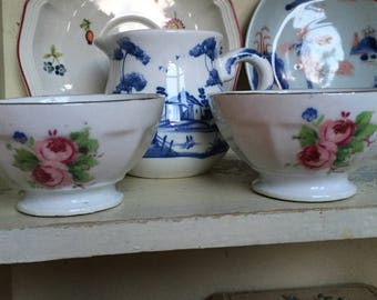 A Pair of two small Old French Café au Lait Bowls. Very pretty Vintage French Coffee Bowls. Shabby Chic.