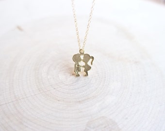 Little love and kissing boy and girl pendant necklace with 14k gold filled chain