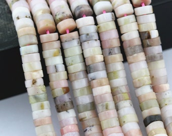 """Natural Pink Opal Round Disc Loose Beads Size:3X5mm/3X6mm/3x7mm 15.5"""" Long Per Strand.I-OPA-0039"""