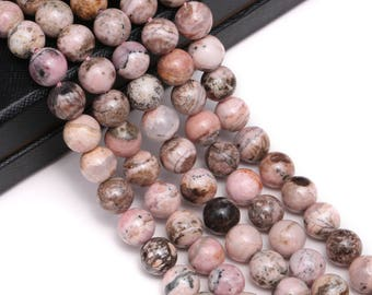 Nice Smooth Rhodochrosite Gemstone Round Loose Beads Size  6mm/8mm/10mm  Approximate 15.5 Inches per Strand.