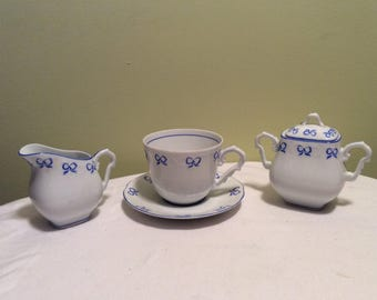 Vintage Fine Porcelain Ruban Blue Vista Alegre Ribbion Tea Coffee Cup with Saucer Cream and Sugar Set