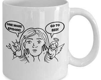 ONE MORE EPISODE! - Devil vs Angel Funny Novelty Mug - Gift for T.V. Binge Watchers - 11 oz white coffee tea cup