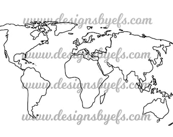 Outline world map etsy world map outline globe outline svg dxf jpeg file gumiabroncs Choice Image