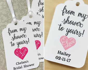 From my shower to yours Favor Tags,Bridal Shower Favor Tags,Baby Shower Favor Tags,Soap or Scrub Favor Tags