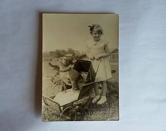 1930's Photograph Young Girl w/ Bulldog in Baby Buggy