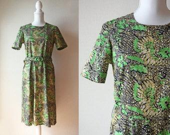 Japanese Vintage Handmade Dress / Vintage 1960's Handmade Dress / Vivid Green and Mustard Floral Batik Dress