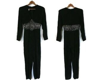 Vintage Carteret Black Jumpsuit with Sequin Embellished Detail, 80s Jumpsuit, USA Union Made USA Size 4, Vintage Jumpsuit, Womens Jumpsuit