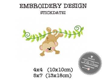 Embroidery Design File Monkey Ape Chimp Jungle Zoo 4x4 5x7