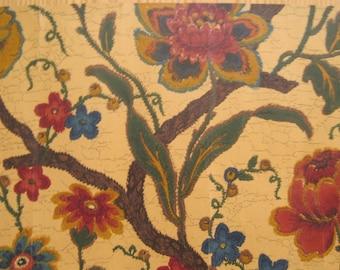 Vintage 1930's English Exotic Floral Wallpaper (8970 )