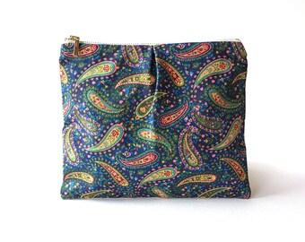 Travel wallet, Makeup organizer, cosmetic bag, coin purse, organizer, pencil case, zipper pouch, clutch purse, handmade, paisley print