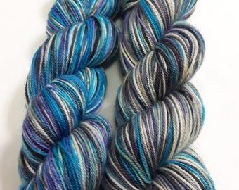 Hand Dyed Yarn - Superwash - Sock Yarn - 80/10/10 Merino/Cashmere/Nylon - Variegated - 'Feel the Blues'