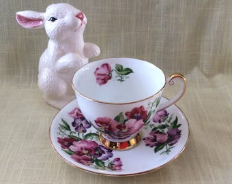 Vintage Royal Dogwood Sweet Pea pattern cup and saucer bone china