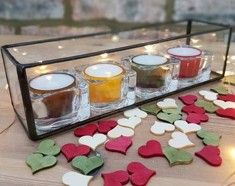 New Home Present/Stainedglass glass boxes/tea light candle holders/indoor garden planter/wedding table decoration/fairy lights holder