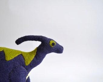 Navy Blue Parasaurolophus, handmade felt dinosaur