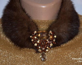"""Necklace  mink fur with brooch  -""""Chocolate"""""""