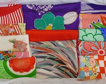 Assorted antique/vintage Kimono fabrics (small pieces) 100g - no.17