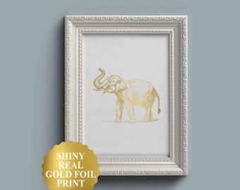 Gold Foil Elephant Print / Elephant Art / Elephant Decor / Nursery Wall Art / Nursery Decor / Nursery Prints / Elephant Wallpaper Gold Foil