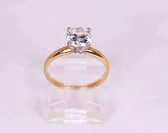 14K Yellow Gold Engagement Ring with a CZ, size 5.25