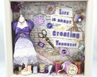 Create Yourself Shadowbox/Assemblage/Dress form/Purple/Craft/Sewing Theme