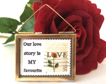 Our Love Story is my Favourite - Valentines Day Gift - Love Token - Love Postage Stamps - Valentines Day Decor - Love Poems - Love Art