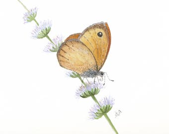 Spring Butterfly Print, Butterfly Art Print, Butterfly and Flowers Nursery Wall Decor, Fine Art Giclee Print