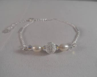 White Pearl AB Swarovski Elements & Stardust 925 Round on Sterling Silver Bracelet with Heart Charm on Extension. Bridal Bridesmaid Gift