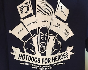 CJ'S HOT DOGS Home of the Big Dawgs Army Navy Marines Coast Guard Air Force -T shirt Adult X L   y