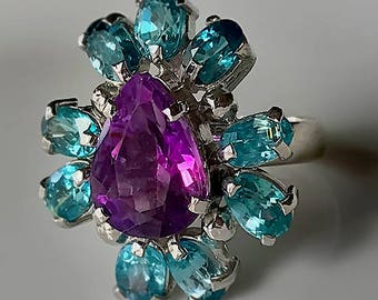 A Vivid Vivacious Amethyst Zircon Sterling Ring Size 8.5