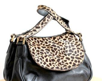FENWICK Mini leather Handbag, Mini Leather Bag with Animal print, Clubbing Leather Bag, Animal Print Leather bag