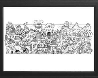 Detailed Original Handmade Fantasy Illustration (Fugglebucket Foothills)