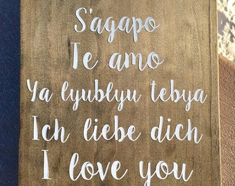 I Love You in 6 Languages, french, greek, Spanish, Russian, german, english, wooden sign, love, Valentine's Day, wedding