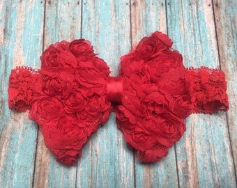 Red headband, rosette headband, infant hairband, baby headband, bow headband, girls headbands