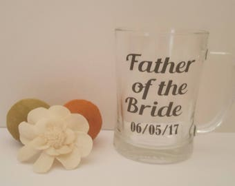 Groomsman gift, Father of the Bride Glass, Father of the Bride Tankard, Wedding Gifts, Groomsman Glass, Best Man Glass, Groom Glass
