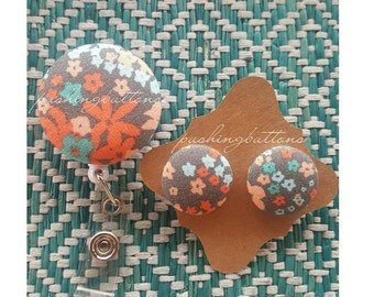 Grey Floral FabricButtonEarrings or Badgeholder