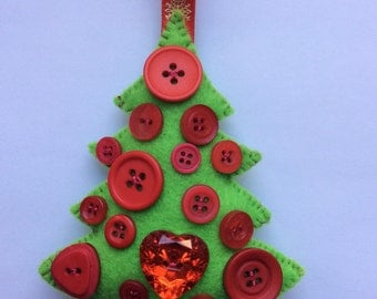 Handmade felt christmas tree ornament decoration