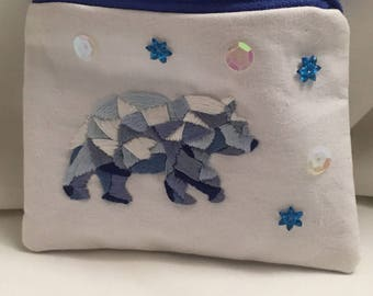 Handmade coin purse with embroidered geometric polar bear OOAK